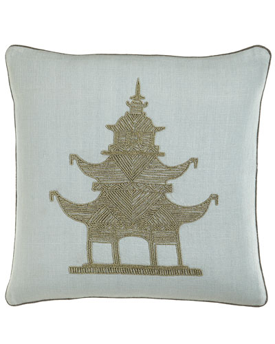 Jonathan Adler Beaded Linen Pagoda Pillow
