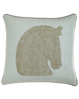 Jonathan Adler Beaded Linen Horse Pillow