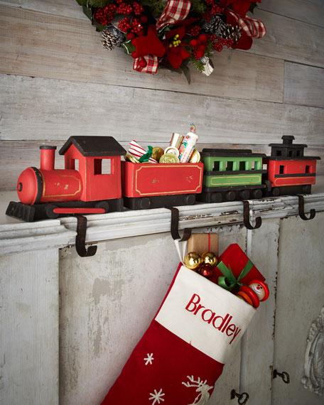 four train christmas stocking hooks. Black Bedroom Furniture Sets. Home Design Ideas