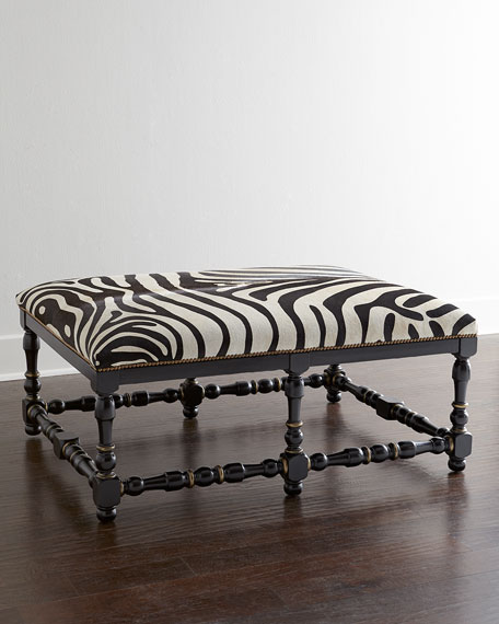 Zebra-Print Hairhide Bench