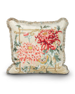 "Jay Strongwater Chrysanthemum 20""Sq. Pillow"