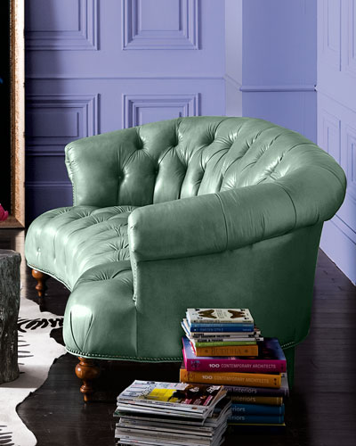 Turquoise Leather Tufted Sofa 71