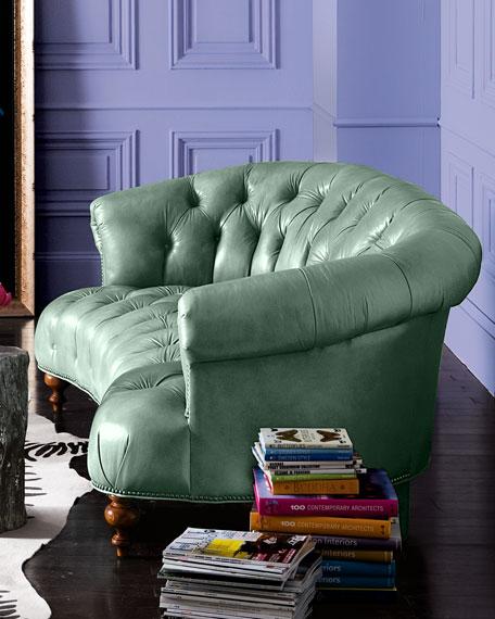 "Turquoise Leather Tufted Sofa 71"""