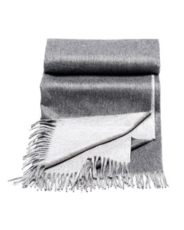 Brunello Cucinelli Gray Fringed Cashmere Blanket