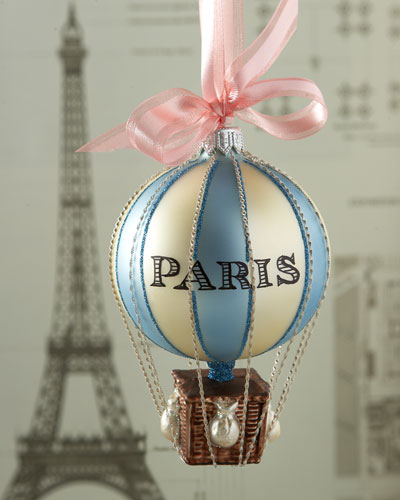 Paris Hot Air Balloon Christmas Ornament