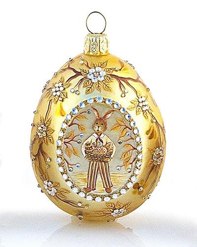 Patricia Breen Golden Bunny With Egg Basket Medallion Ornament
