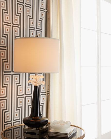 Ebony Blossoms Glass Lamp