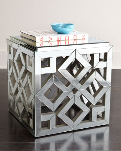 Diamond Mirrored Side Table