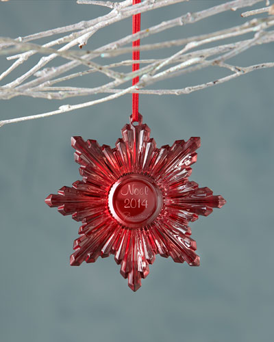 Baccarat 2014 Annual Red Snowflake Christmas Ornament