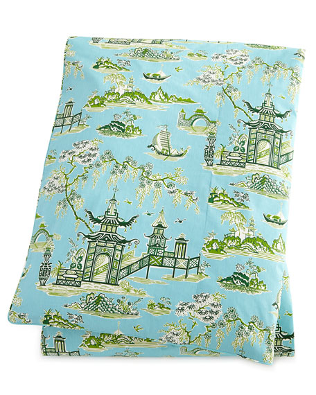 legacy home queen peaceful temple toile duvet cover 90 x 96. Black Bedroom Furniture Sets. Home Design Ideas