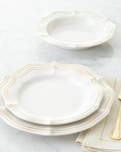 NM EXCLUSIVE 12-Piece Metallic Scalloped Dinnerware Service