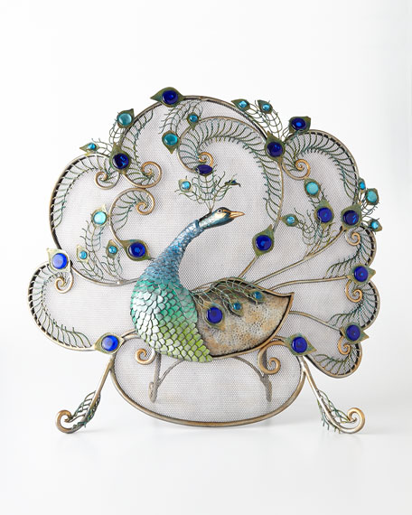 Janice Minor Peacock Fireplace Screen