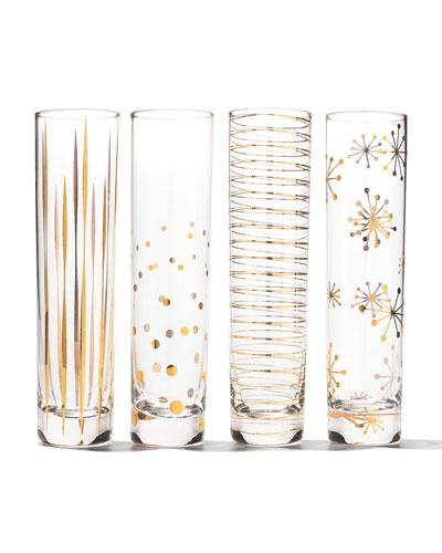 Four Golden Sparkle Champagne Flutes