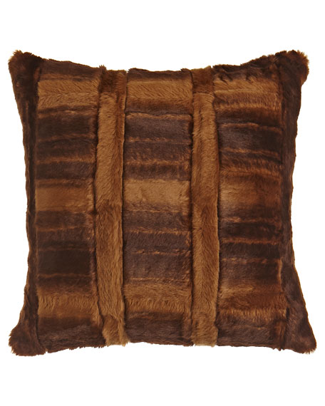 "Faux-Beaver Pillow, 18""Sq."