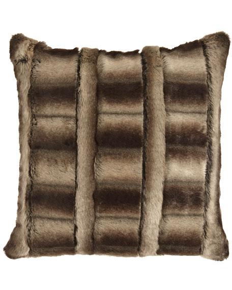 """Faux-Beaver Pillow, 18""""Sq."""