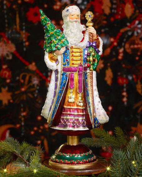 jay strongwater victorian style santa christmas tree topper - Santa Christmas Tree Topper