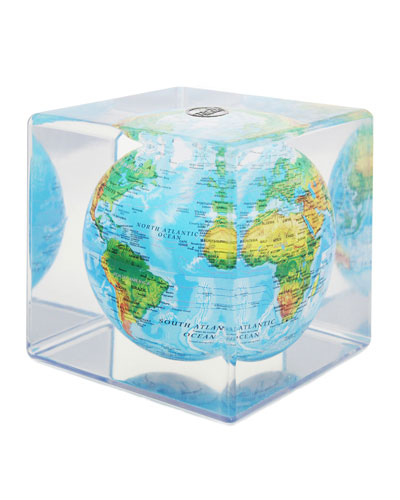 Blue Mova Cube with Relief Map