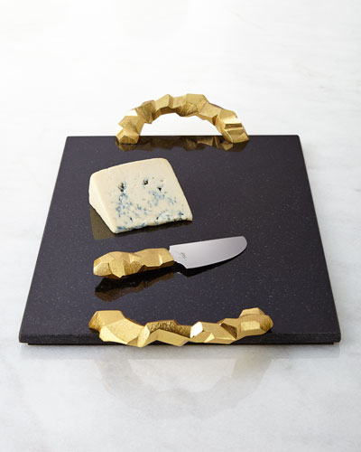 Michael Aram Rock Cheese Board with Knife