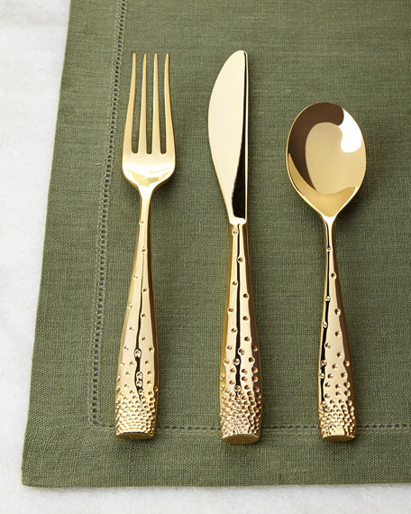 Nambe Five-Piece Golden Dazzle Flatware Place Setting