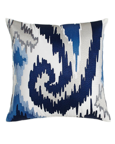 "Silver Lake Ikat Paisley Pillow, 18""Sq."
