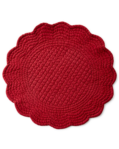 Four Burgundy Round Quilted Placemats