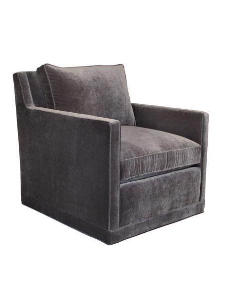 Nina St. Clair Gray Velvet Swivel Chair