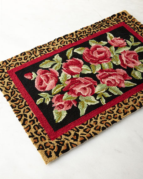 Neimanmarcus Hooked Wool Roses Accent Rug