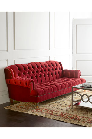 Haute House Mr. Smith Cranberry Tufted Sofa 94.5""