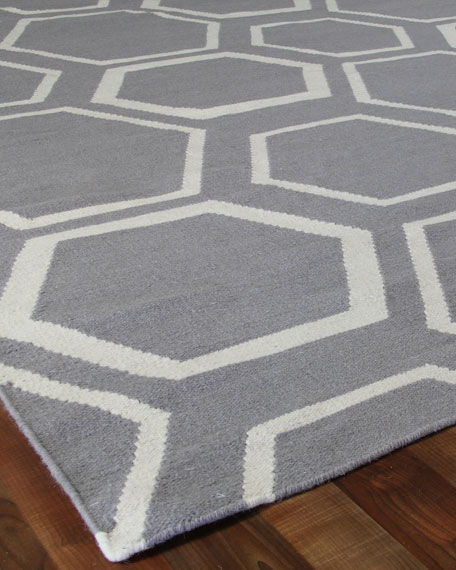 Dark Gray Honeycomb Rug, 8' x 11'