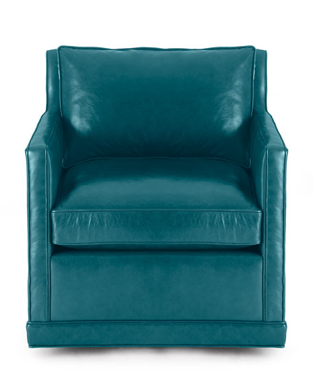 Nina St. Clair Peacock Blue Leather Swivel Chair