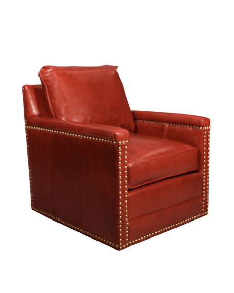 Avis St. Clair Red Leather Swivel Chair