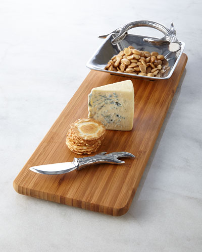 Arthur Court Antler Bamboo Cheese Set