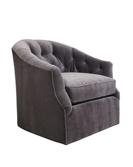 Rae St. Clair Gray Velvet Swivel Chair