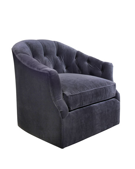 Rae St. Clair Navy Velvet Swivel Chair