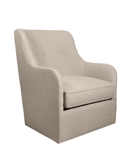 Cali St. Clair Linen-Texture Swivel Chair