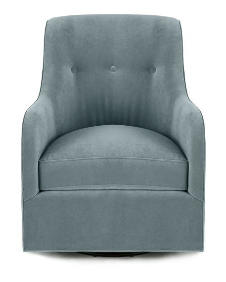 Cali St. Clair Sky Blue Velvet Swivel Chair