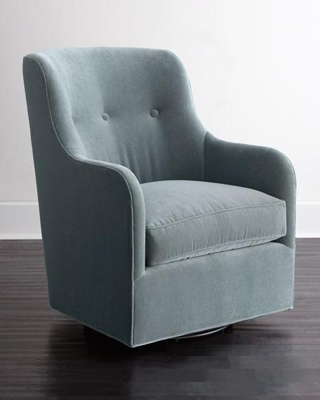 Cali St. Clair Sky Blue Velvet Swivel Chair