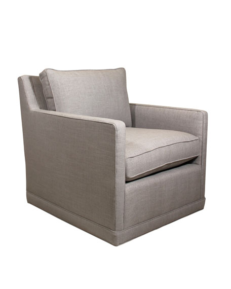 Nina St. Clair Light Gray Tweed Swivel Chair