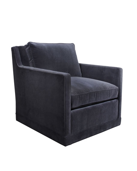 Nina St. Clair Navy Velvet Swivel Chair