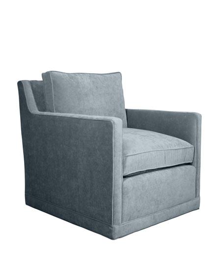 Nina St. Clair Sky Blue Velvet Swivel Chair