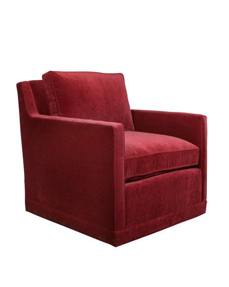 Nina St. Clair Red Velvet Swivel Chair