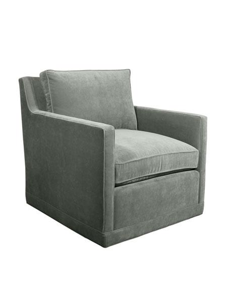 Nina St. Clair Aqua Velvet Swivel Chair