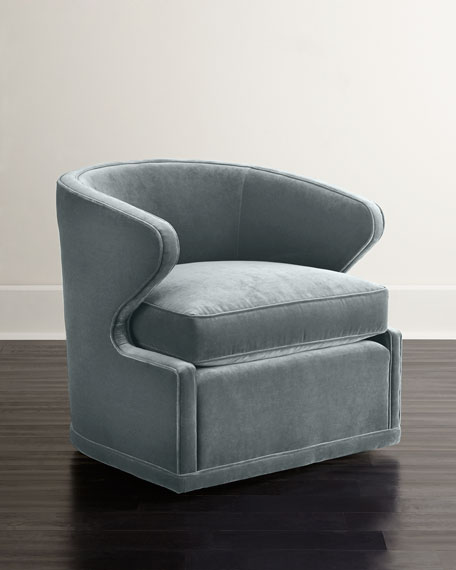 Dyna St. Clair Sky Blue Velvet Swivel Chair