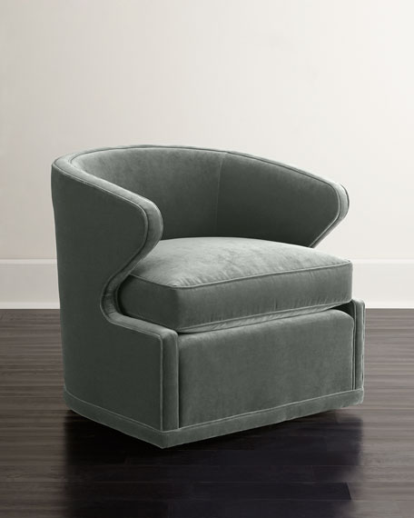 Dyna St. Clair Aqua Velvet Swivel Chair