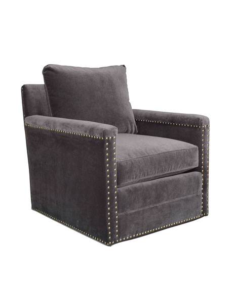 Avis St. Clair Gray Velvet Swivel Chair