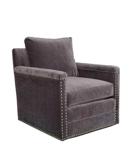 Avis St. Clair Gray Velvet Swivel Chair