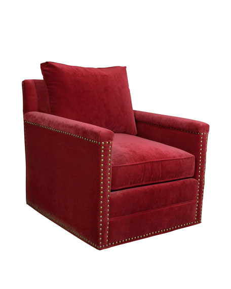 Avis St. Clair Red Velvet Swivel Chair