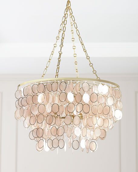 Aurora 3-Light Capiz Shell Silvery Chandelier