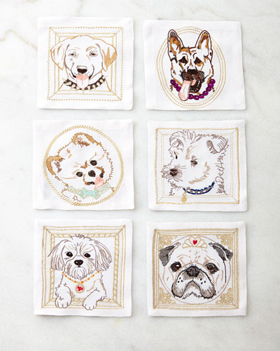 Six Dog Portrait Cocktail Napkins