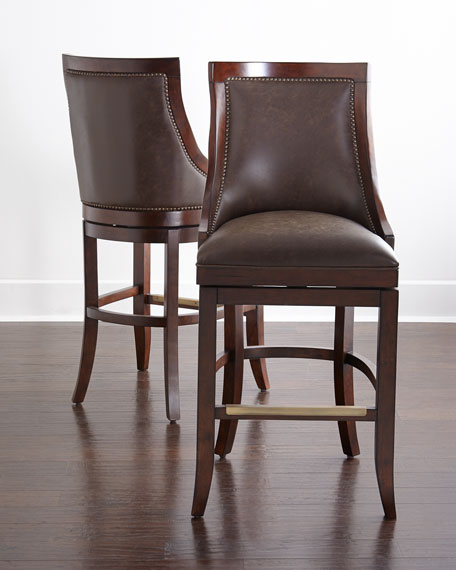 Logan Leather Swivel Counter Stool